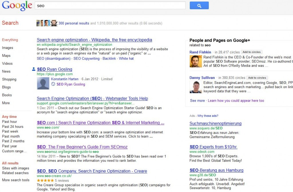 Google Social Search Snippets